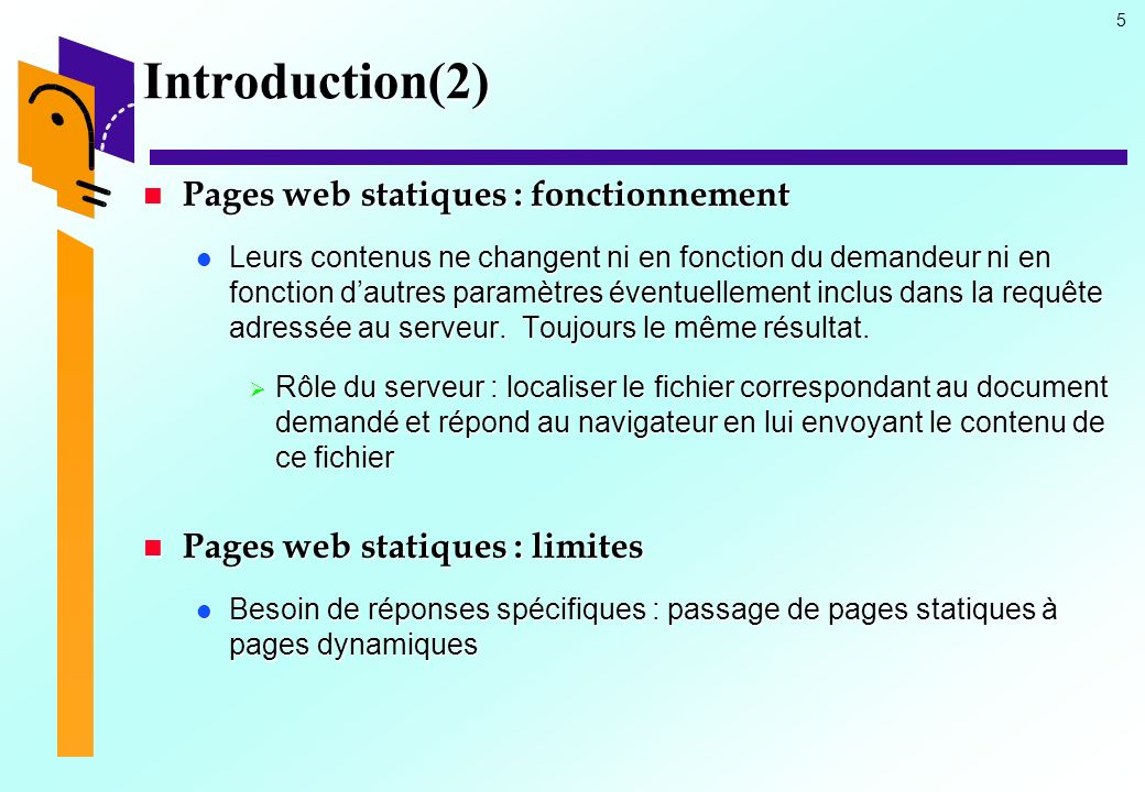 Introduction(2) Pages web statiques : fonctionnement