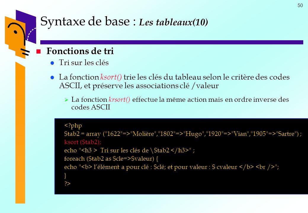 Syntaxe de base : Les tableaux(10)
