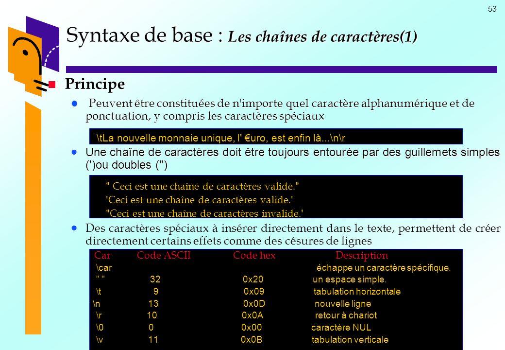 Syntaxe de base : Les chaînes de caractères(1)