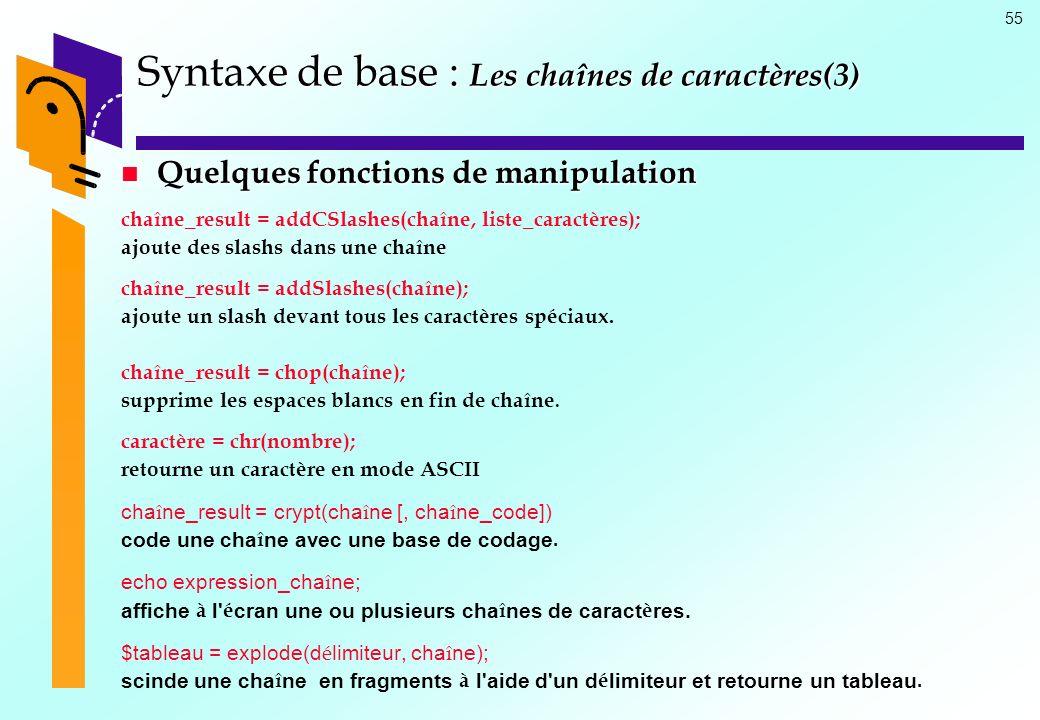 Syntaxe de base : Les chaînes de caractères(3)