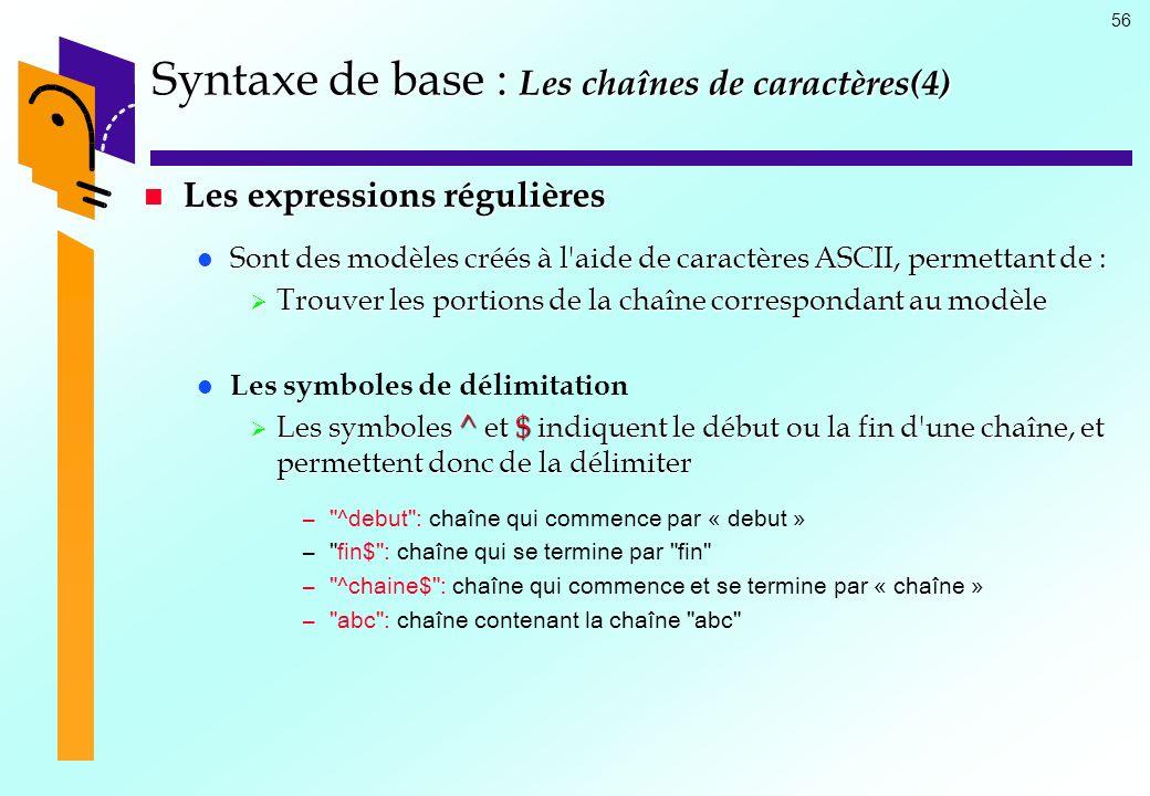 Syntaxe de base : Les chaînes de caractères(4)