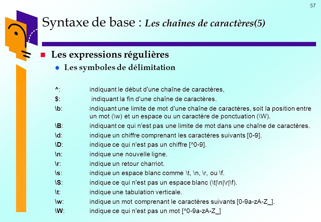 Syntaxe de base : Les chaînes de caractères(5)