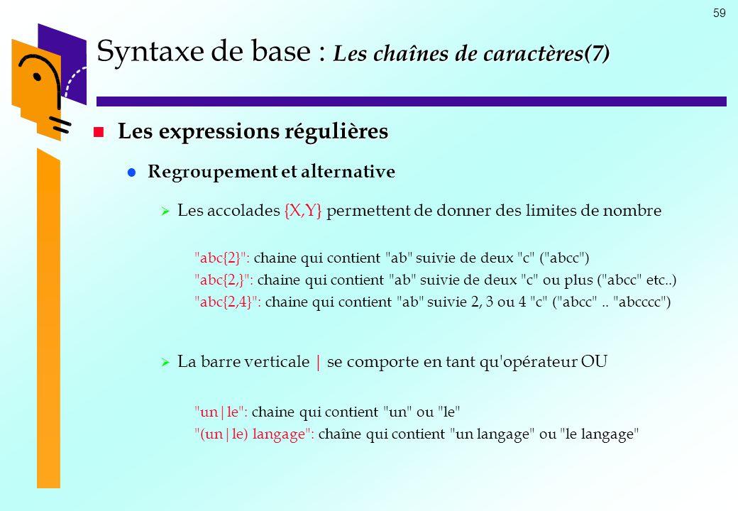 Syntaxe de base : Les chaînes de caractères(7)