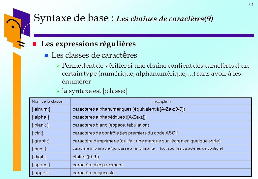 Syntaxe de base : Les chaînes de caractères(9)