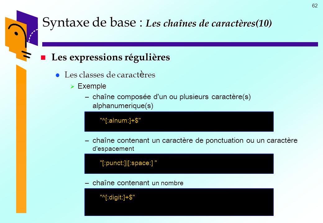 Syntaxe de base : Les chaînes de caractères(10)