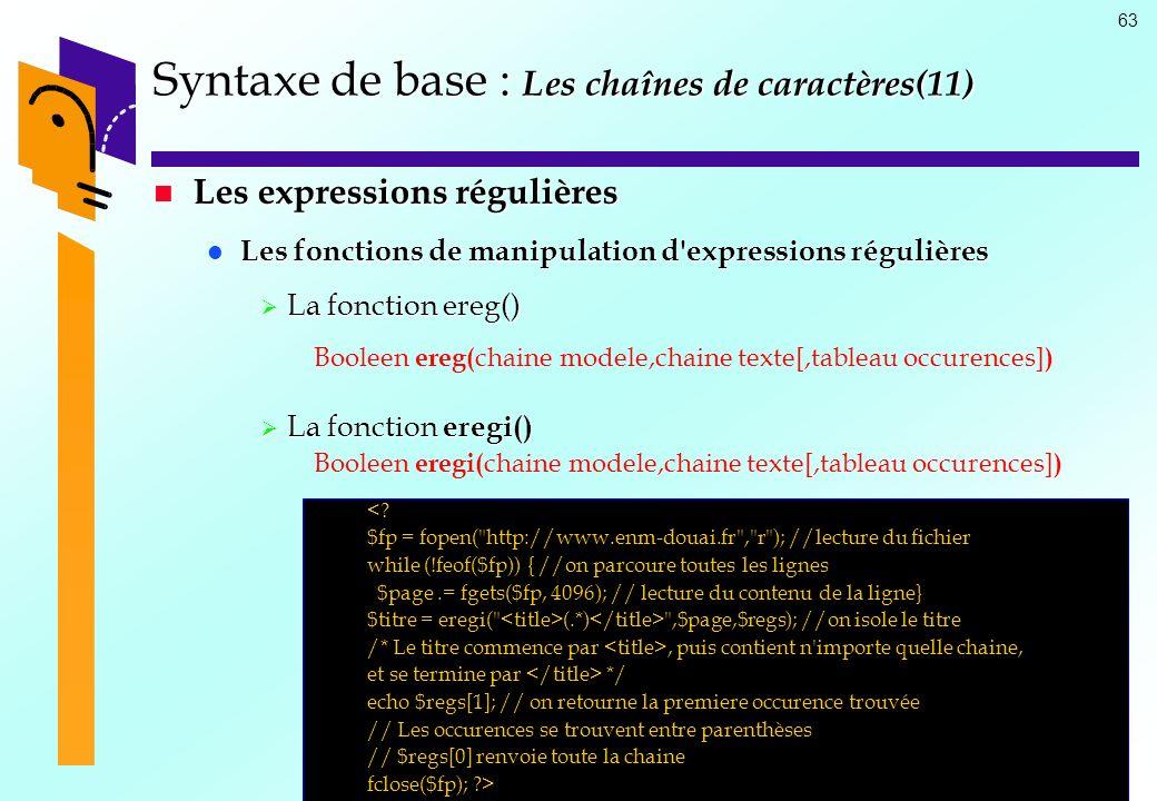 Syntaxe de base : Les chaînes de caractères(11)