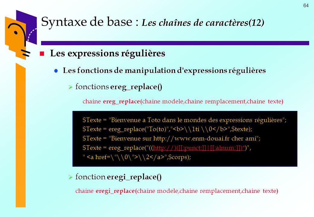 Syntaxe de base : Les chaînes de caractères(12)