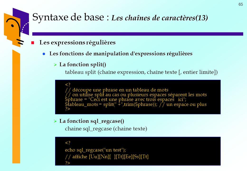 Syntaxe de base : Les chaînes de caractères(13)