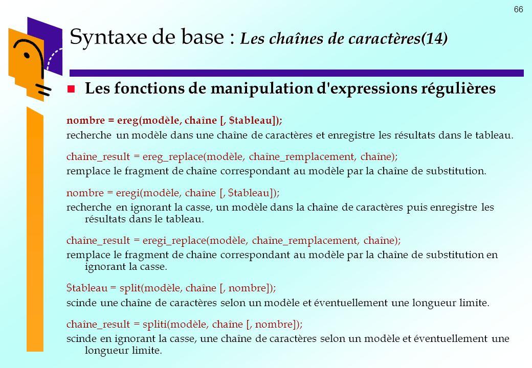Syntaxe de base : Les chaînes de caractères(14)