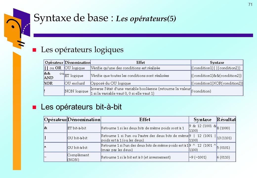 Syntaxe de base : Les opérateurs(5)