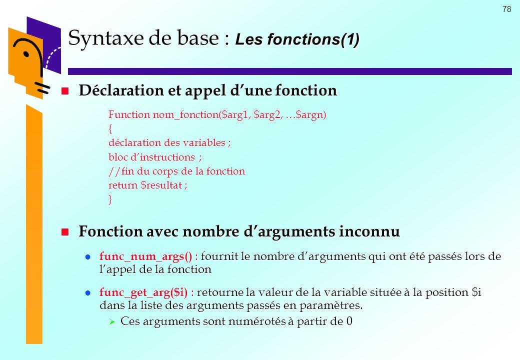 Syntaxe de base : Les fonctions(1)
