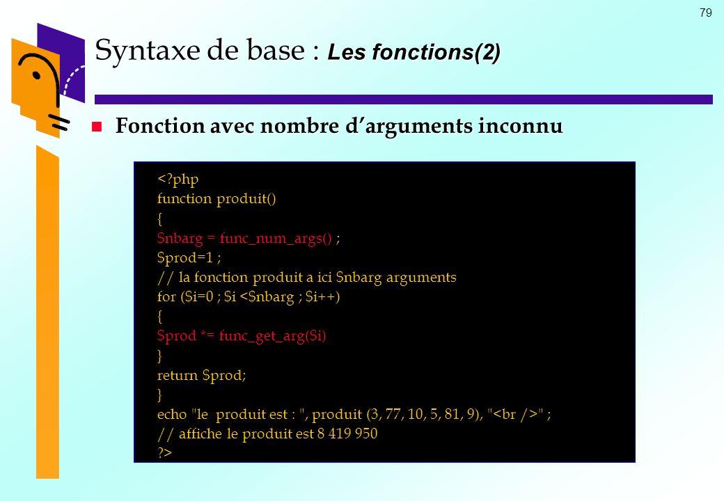 Syntaxe de base : Les fonctions(2)