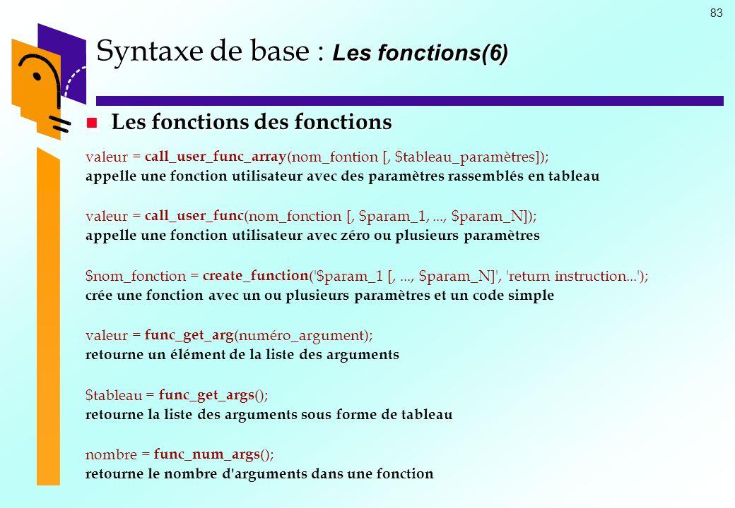 Syntaxe de base : Les fonctions(6)