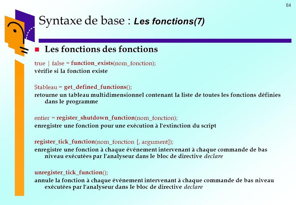 Syntaxe de base : Les fonctions(7)