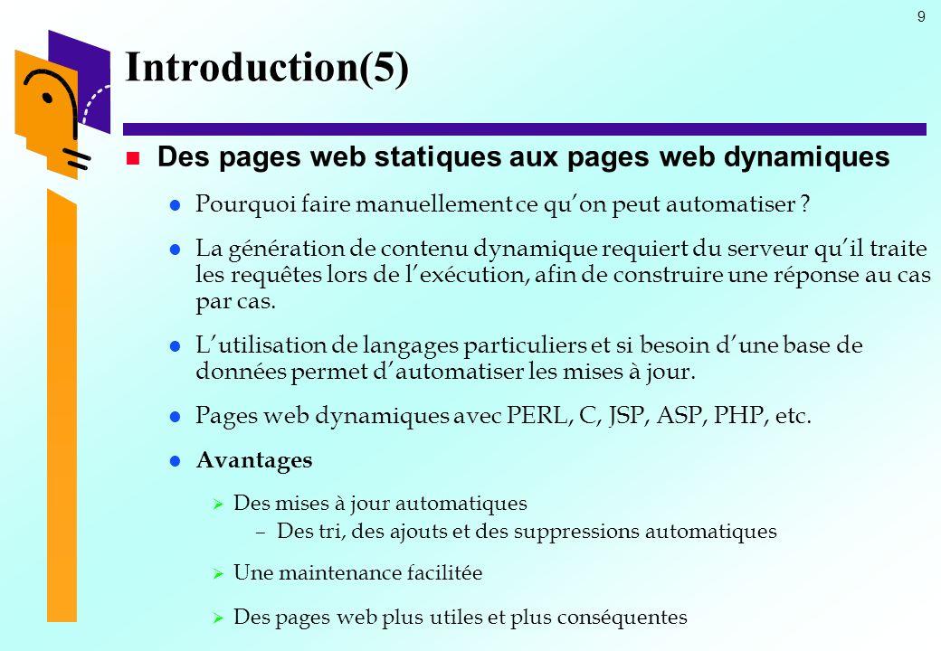 Introduction(5) Des pages web statiques aux pages web dynamiques