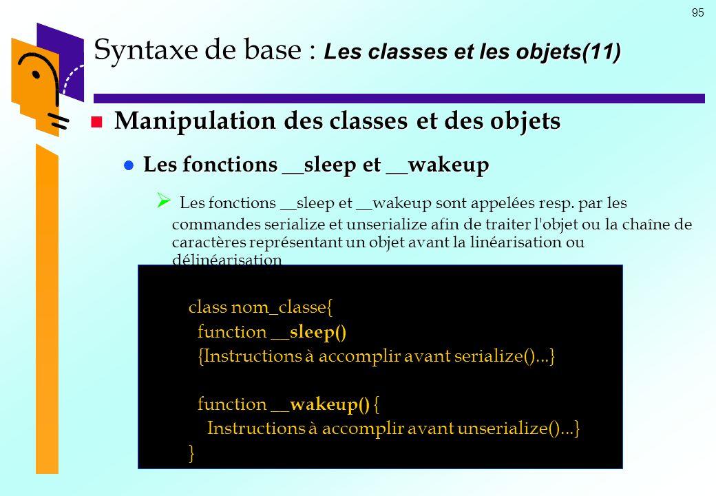 Syntaxe de base : Les classes et les objets(11)
