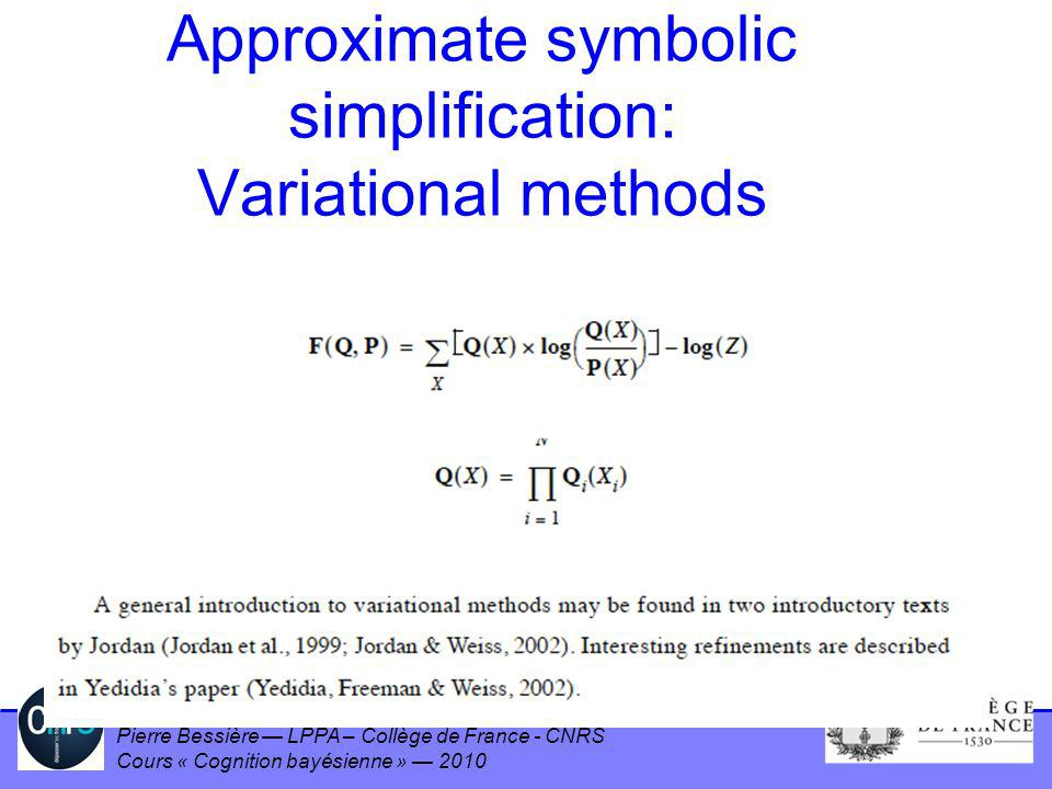 Approximate symbolic simplification: Variational methods