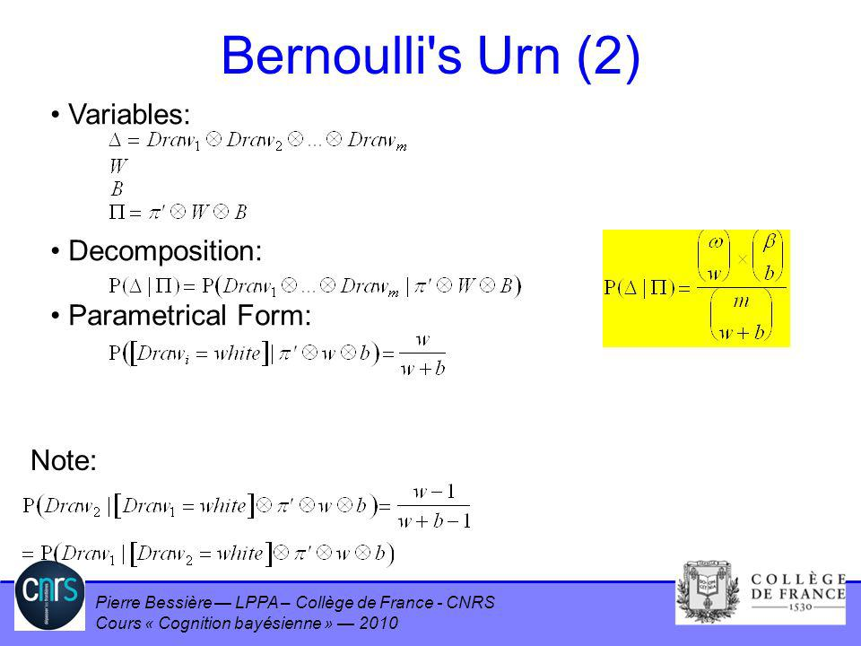 Bernoulli s Urn (2) Variables: Decomposition: Parametrical Form: Note: