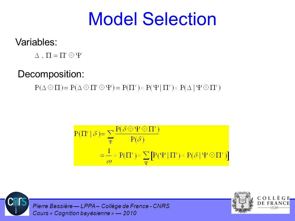 Model Selection Variables: Decomposition: