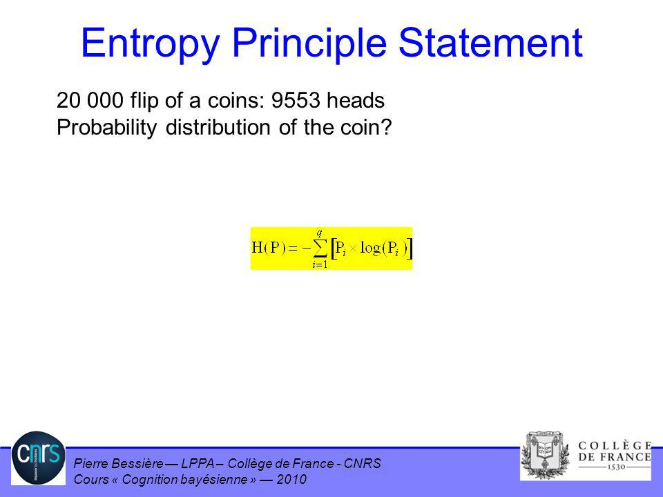 Entropy Principle Statement