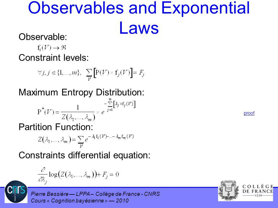 Observables and Exponential Laws