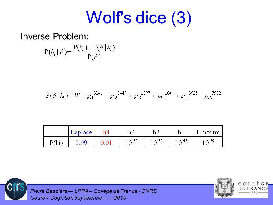 Wolf s dice (3) Inverse Problem: