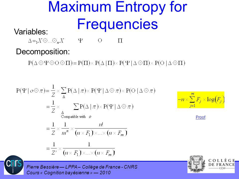 Maximum Entropy for Frequencies