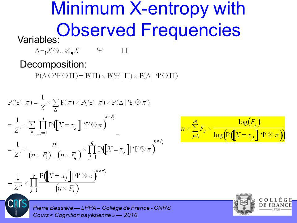 Minimum X-entropy with Observed Frequencies