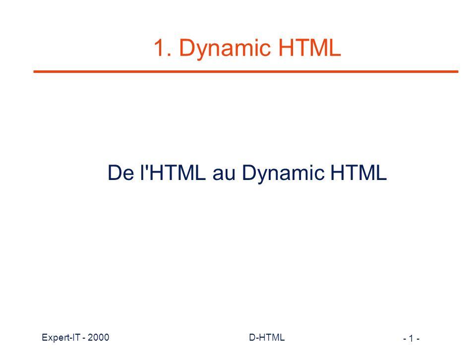 De l HTML au Dynamic HTML