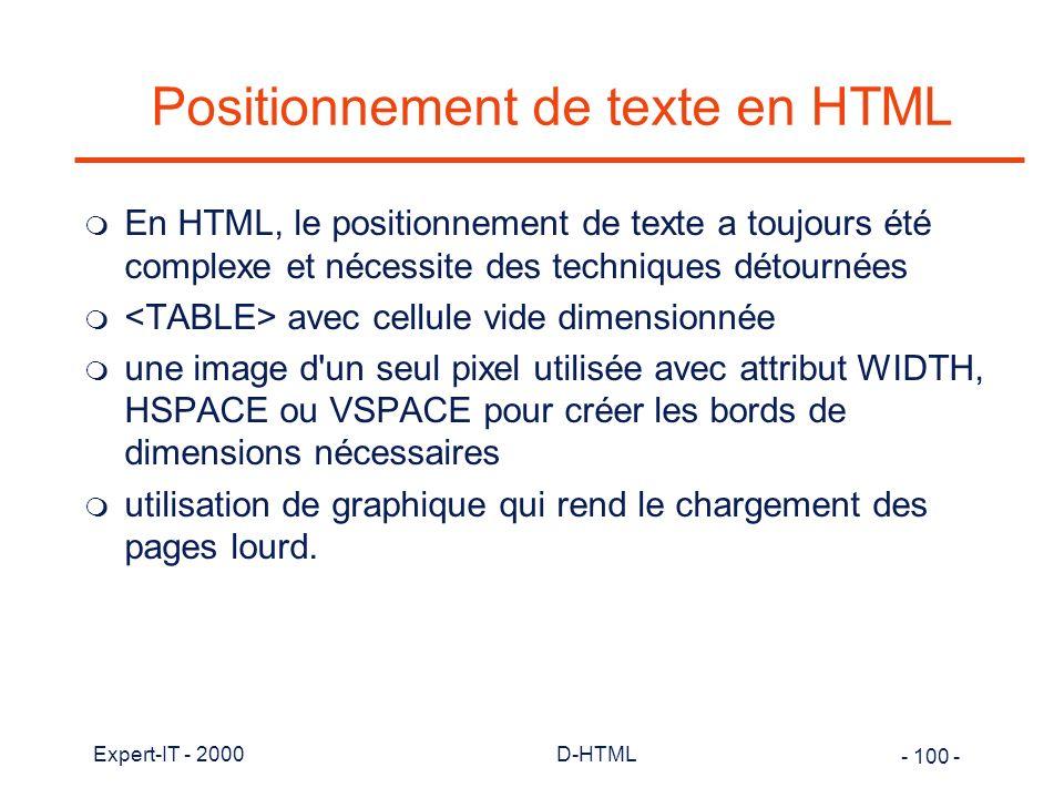 Positionnement de texte en HTML