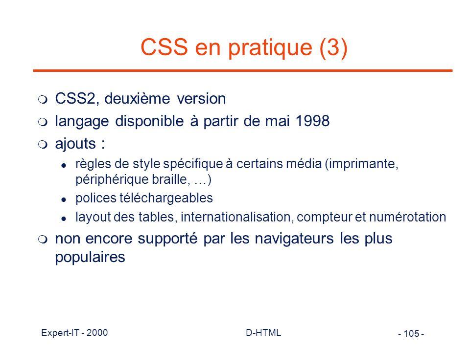 CSS en pratique (3) CSS2, deuxième version