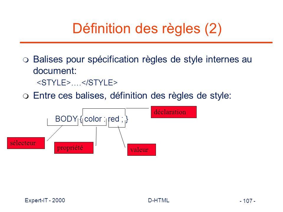 Définition des règles (2)