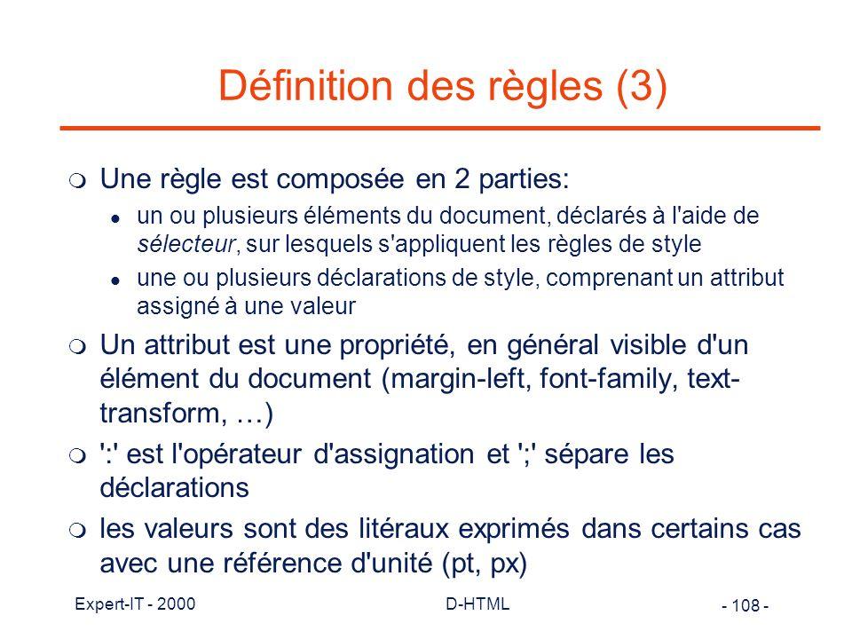 Définition des règles (3)
