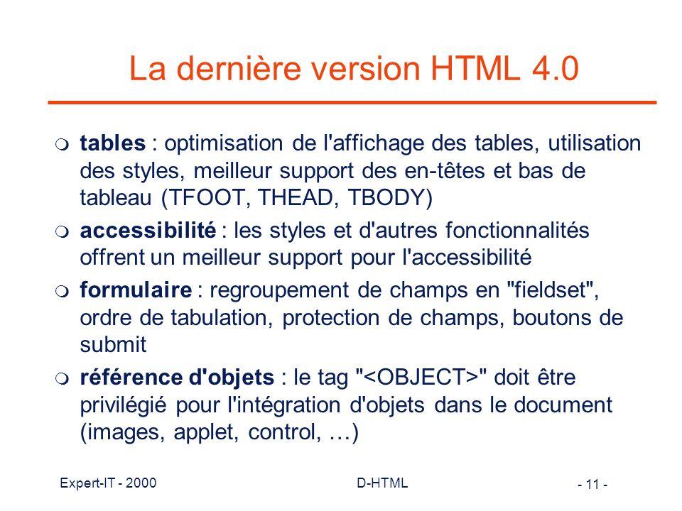 La dernière version HTML 4.0