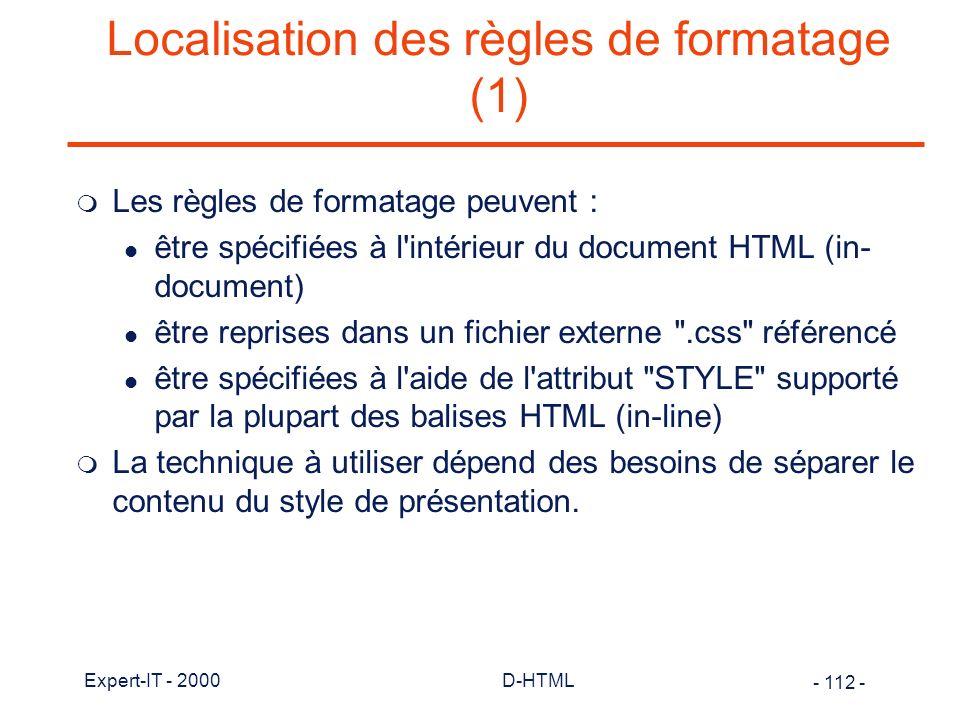 Localisation des règles de formatage (1)