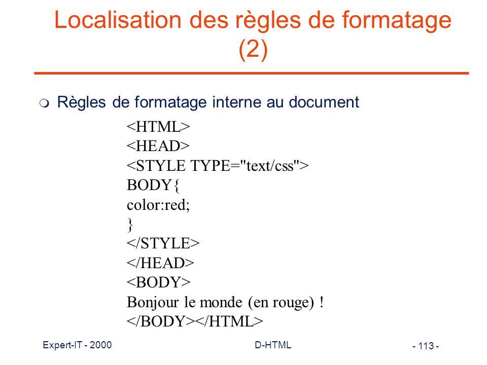 Localisation des règles de formatage (2)