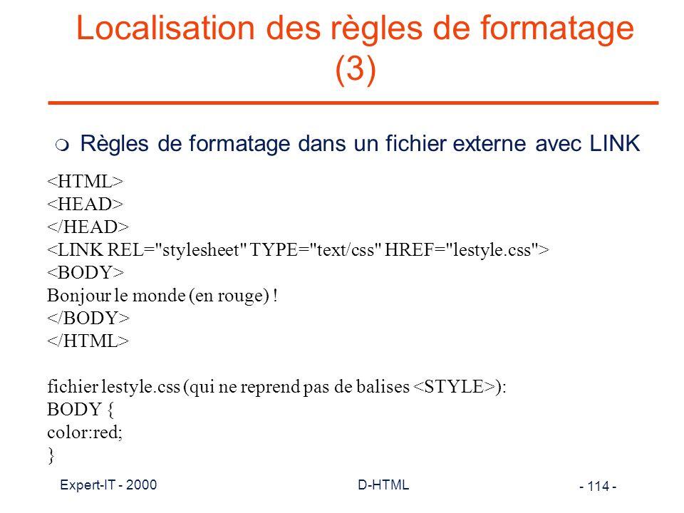 Localisation des règles de formatage (3)