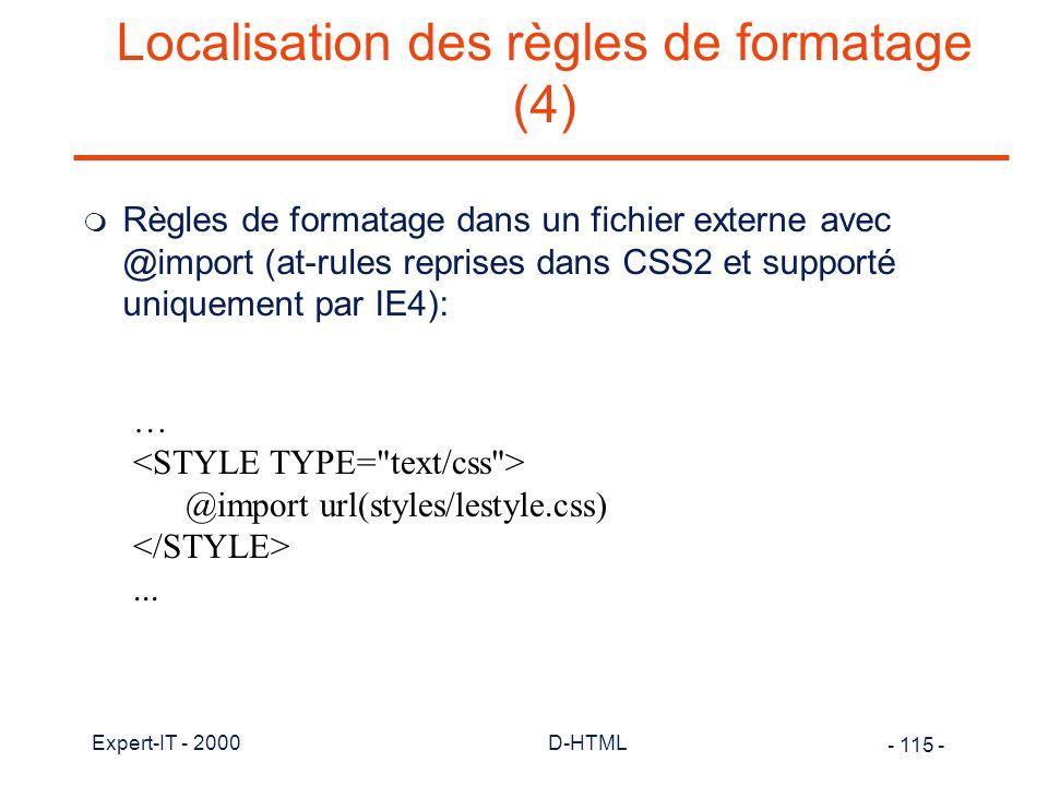 Localisation des règles de formatage (4)