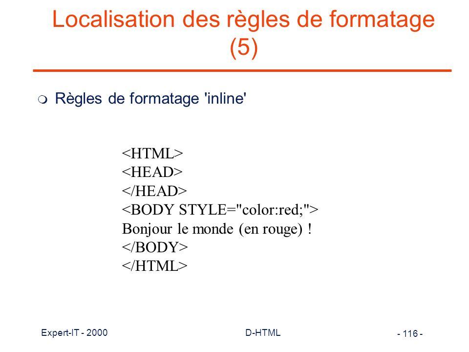 Localisation des règles de formatage (5)