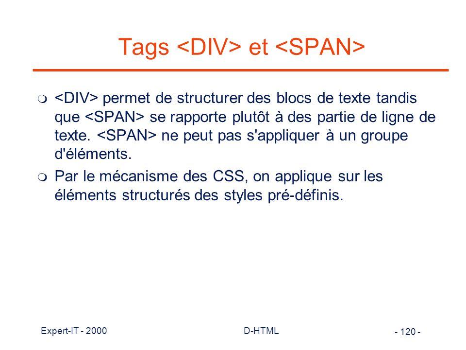 Tags <DIV> et <SPAN>