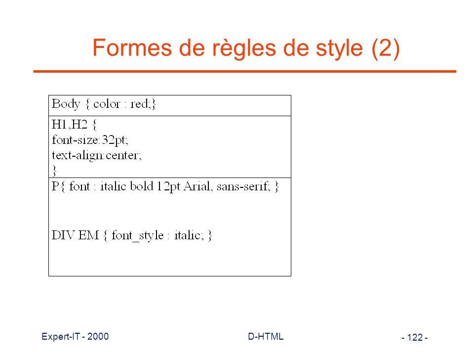 Formes de règles de style (2)