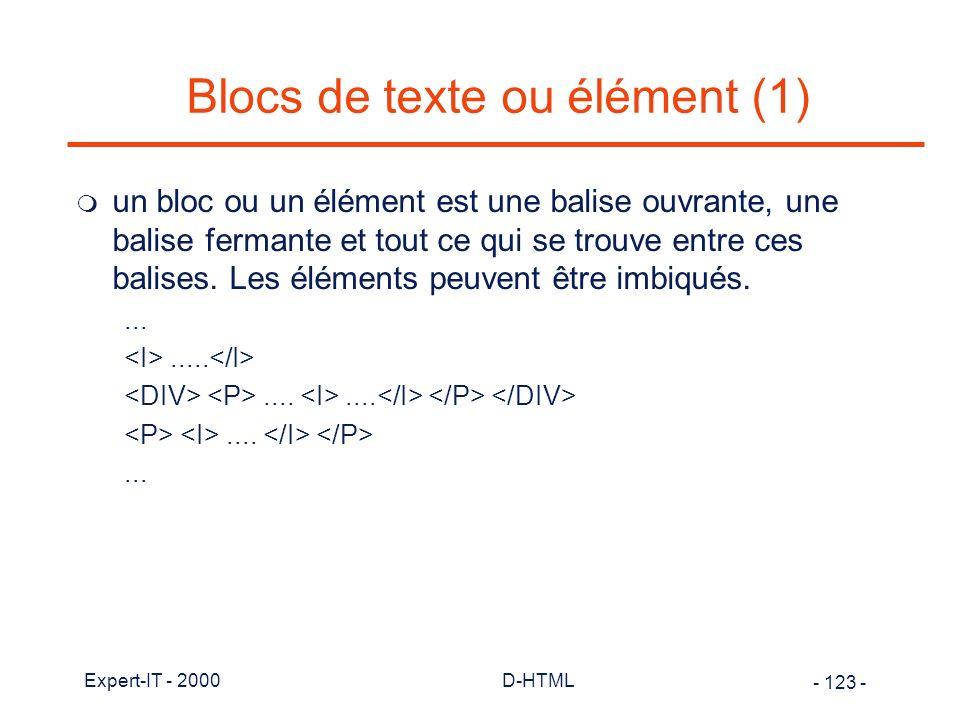 Blocs de texte ou élément (1)