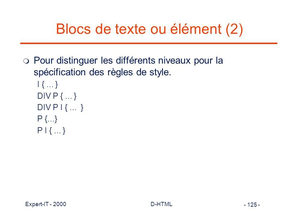 Blocs de texte ou élément (2)