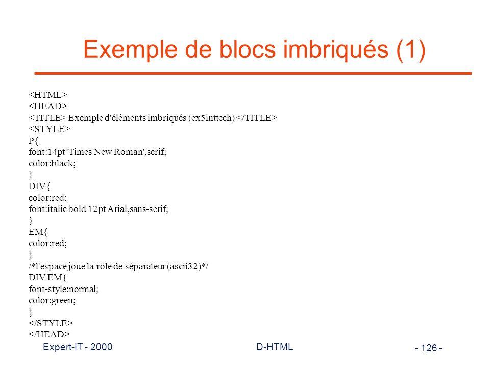 Exemple de blocs imbriqués (1)