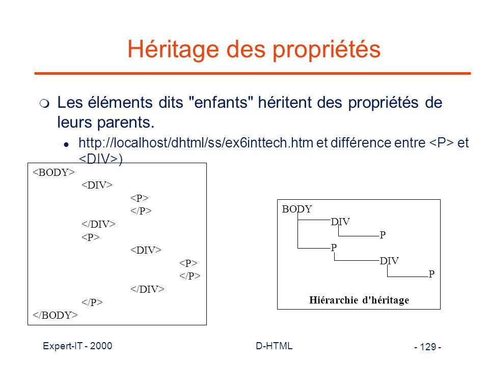 Héritage des propriétés