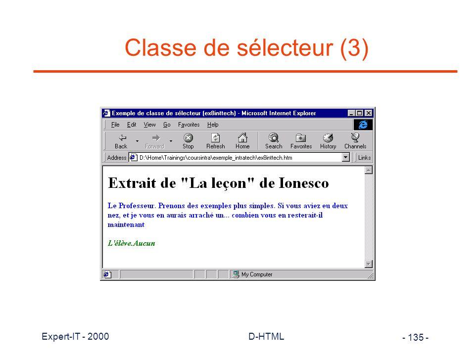 Classe de sélecteur (3) Expert-IT - 2000 D-HTML