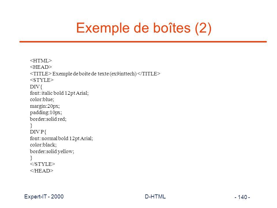 Exemple de boîtes (2) <HTML> <HEAD>