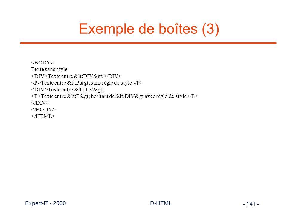 Exemple de boîtes (3) <BODY> Texte sans style