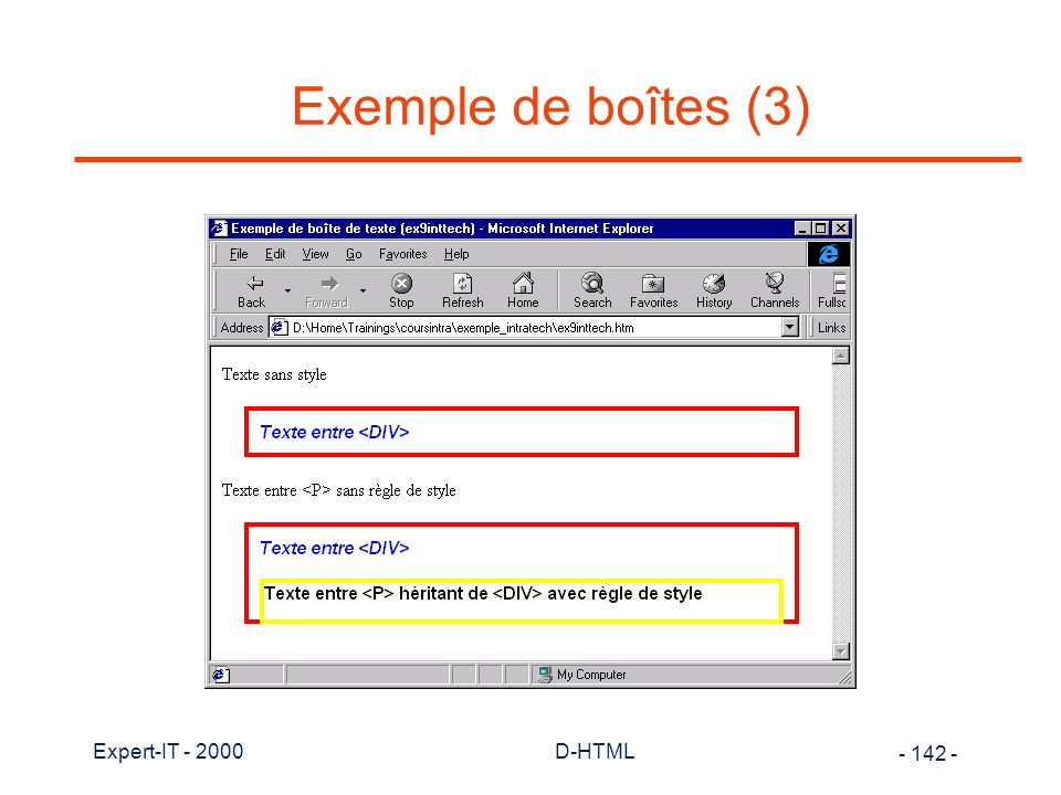 Exemple de boîtes (3) Expert-IT - 2000 D-HTML