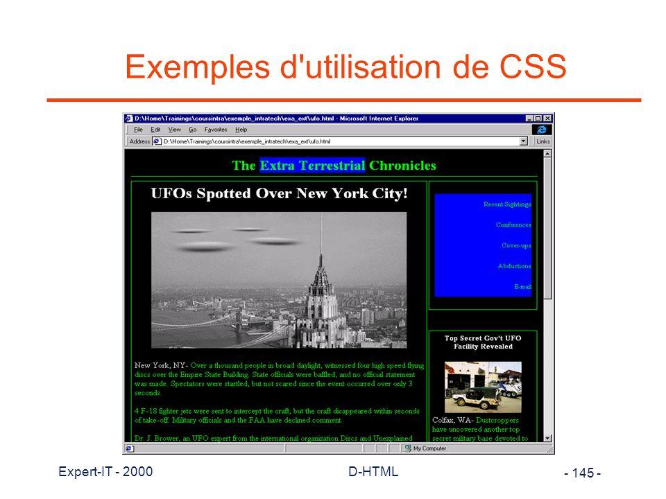 Exemples d utilisation de CSS